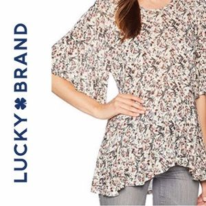 NWT Lucky Brand Ivory Printed Flutter Sleeves top